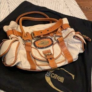 Just Cavalli leather canvas hand bag tan brown